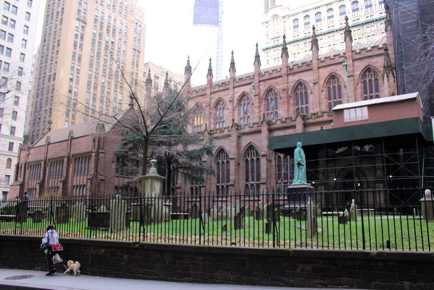 Trinity Church at the intersection of Wall Street and Broadway