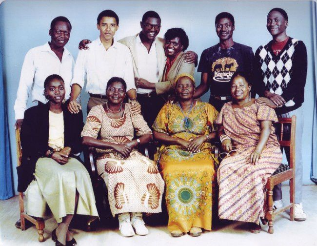 A studio shot of Barack's big Kenyan family