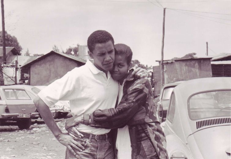 Barack and Michelle in Kibera, Nairobi during their first visit to Kenya