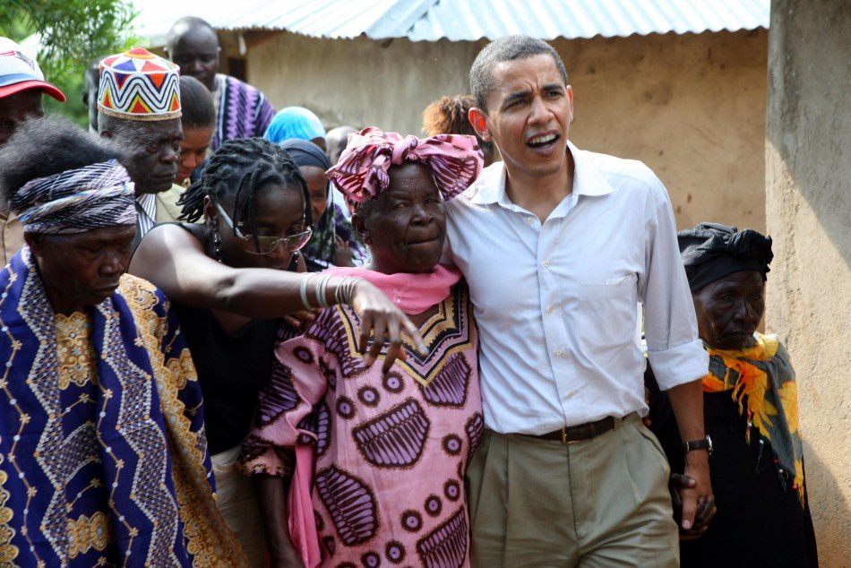 Barack with his Granny Sarah and his sister Auma