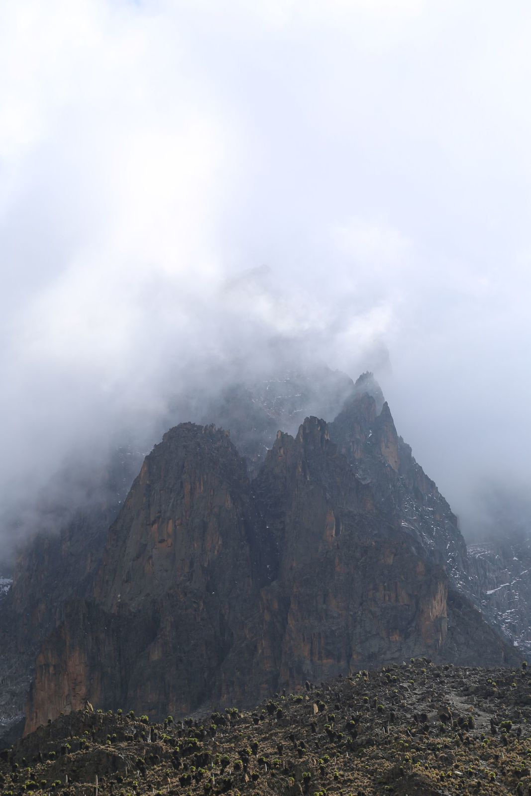 The mighty peak of Mount Kenya....it looked majestic! (...and scary)
