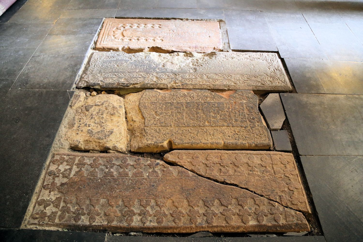 Well preserved parts of the authentic floor in the church. Плиты с оригинального пола церкви.