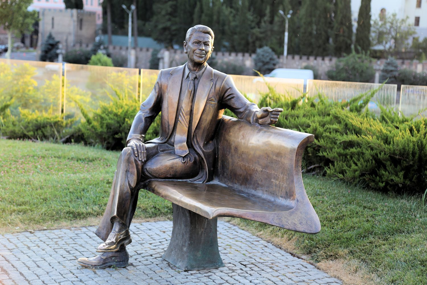 Ronald Reagan monument in the Rike Park, Tbilisi