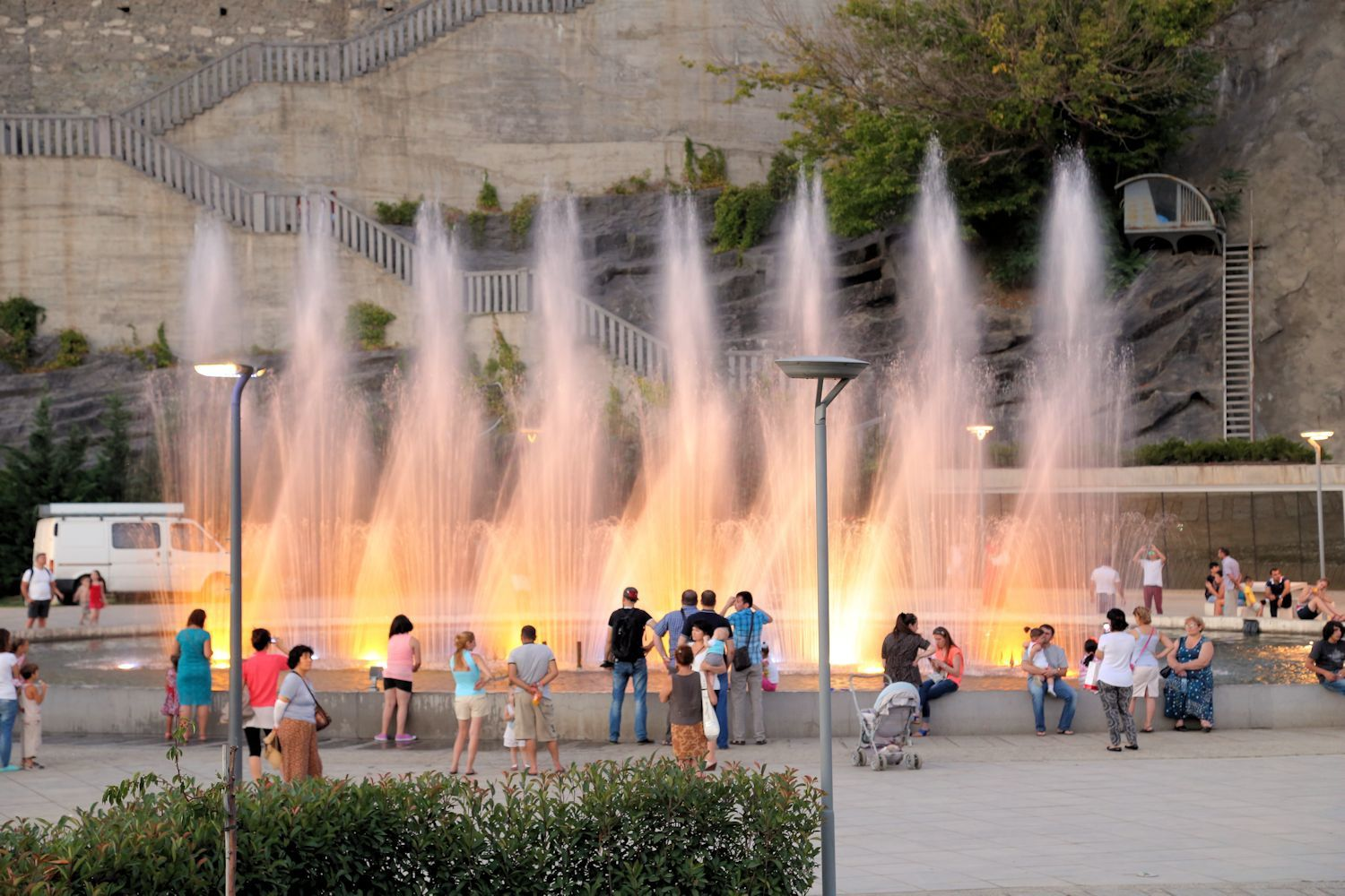 Beautiful fountains of the Rike Park
