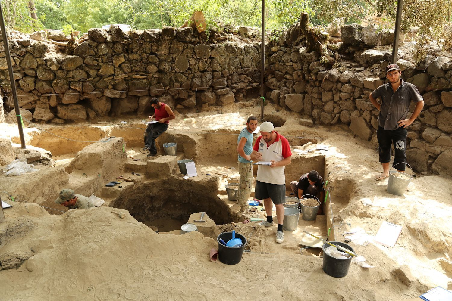 Archeologists  excavating the site in Dmanisi Museum-Reserve