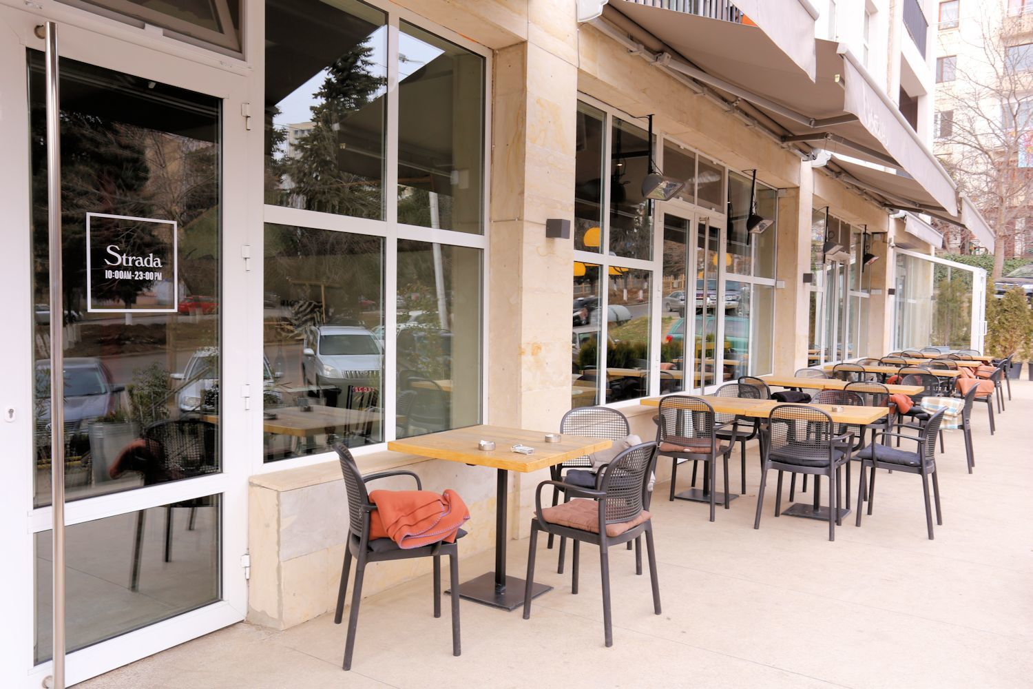 Outside seats in Strada cafe
