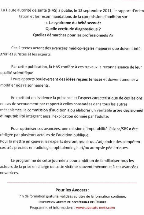 Metz : Colloque le Bébé secoué le 26 octobre 2012