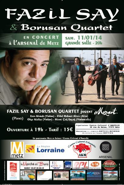 Metz l'Arsenal : Fazil Say &amp&#x3B; Borusan Quartet jouent Mozart le 11 janvier