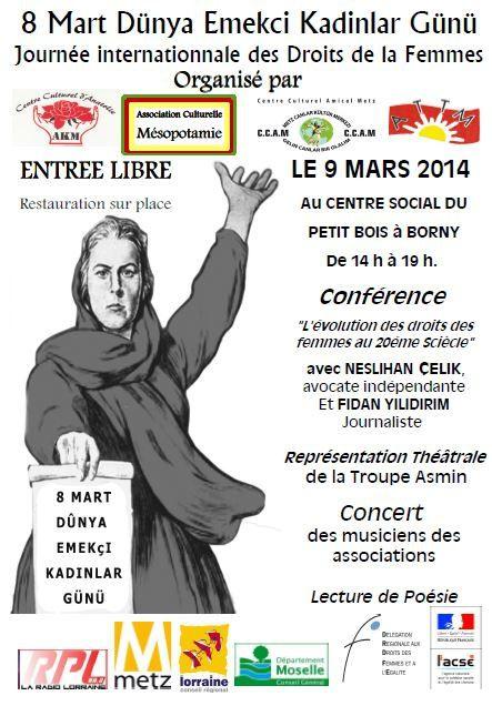Metz Borny : Droits des Femmes, Confèrence, Concert  le 9 mars