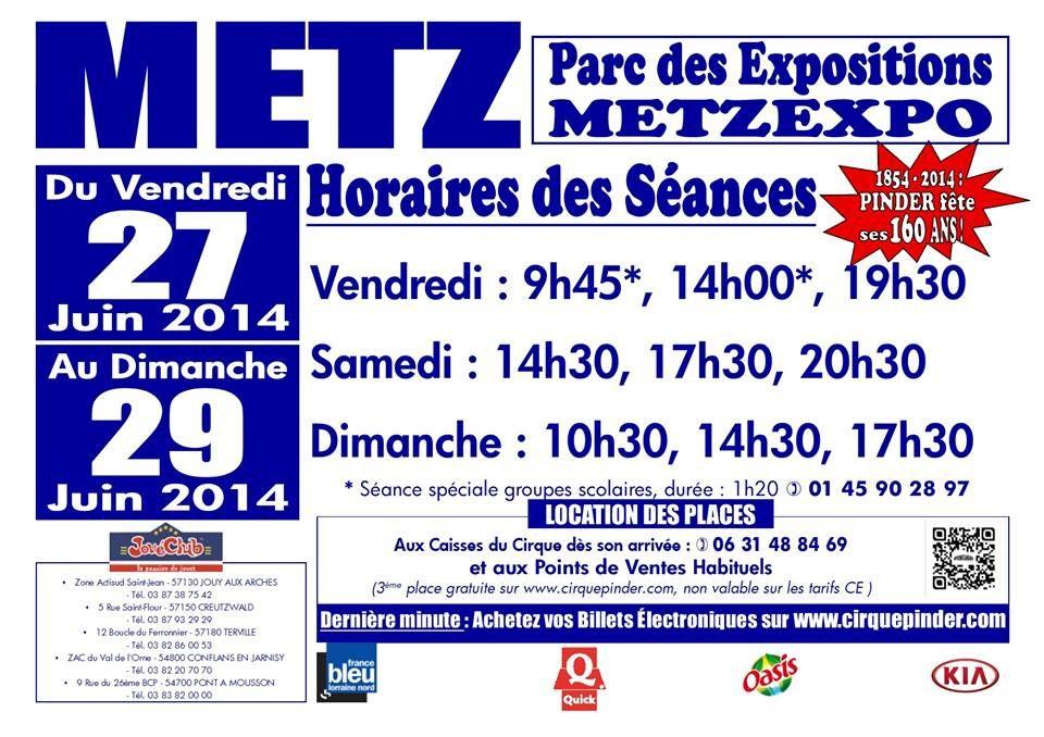 Metz Expo Nouveau spectacle du Cirque Pinder du 27 au  29 juin 2014