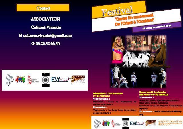 Terville Festival &quot&#x3B;Danse en mouvement de l'orient à l'occident&quot&#x3B; du 16 au 28 novembre 2015