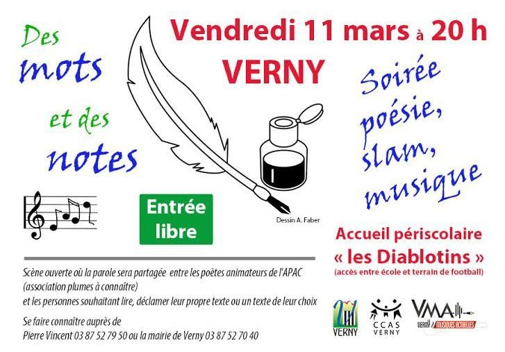 Verny Soirée poésie,slam,musique vendredi 11 mars 2016