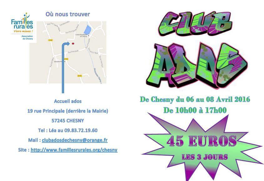 Chesny familles rurales club Ados avril l'art du Graffiti