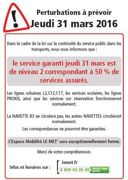 Réseau LE MET' préavis de grève le jeudi 31 mars 2016