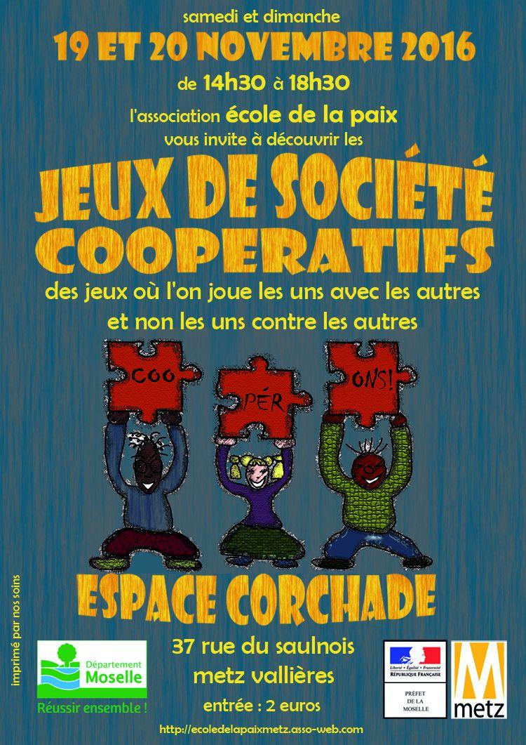 Metz vallières JEUX de société COOPÉRATIFS les 19 et 20 Novembre 2016