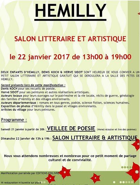Hemilly Salon littéraire et artistique le 22 janvier 2017