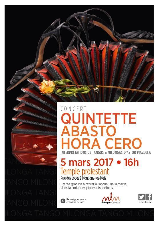 Montigny-lès-Metz CONCERT Quintette Abasto Hora Cero le 5 mars