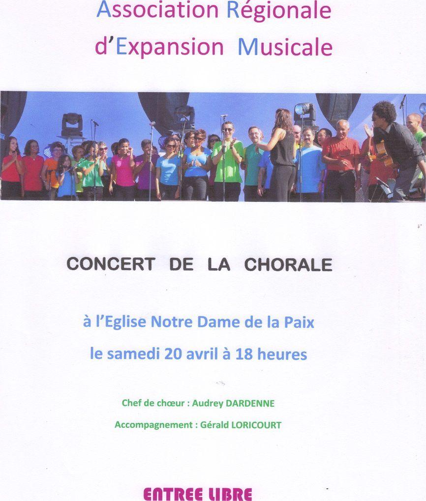 Concert de la Chorale le Samedi 20 Avril à St Gilles les Bains