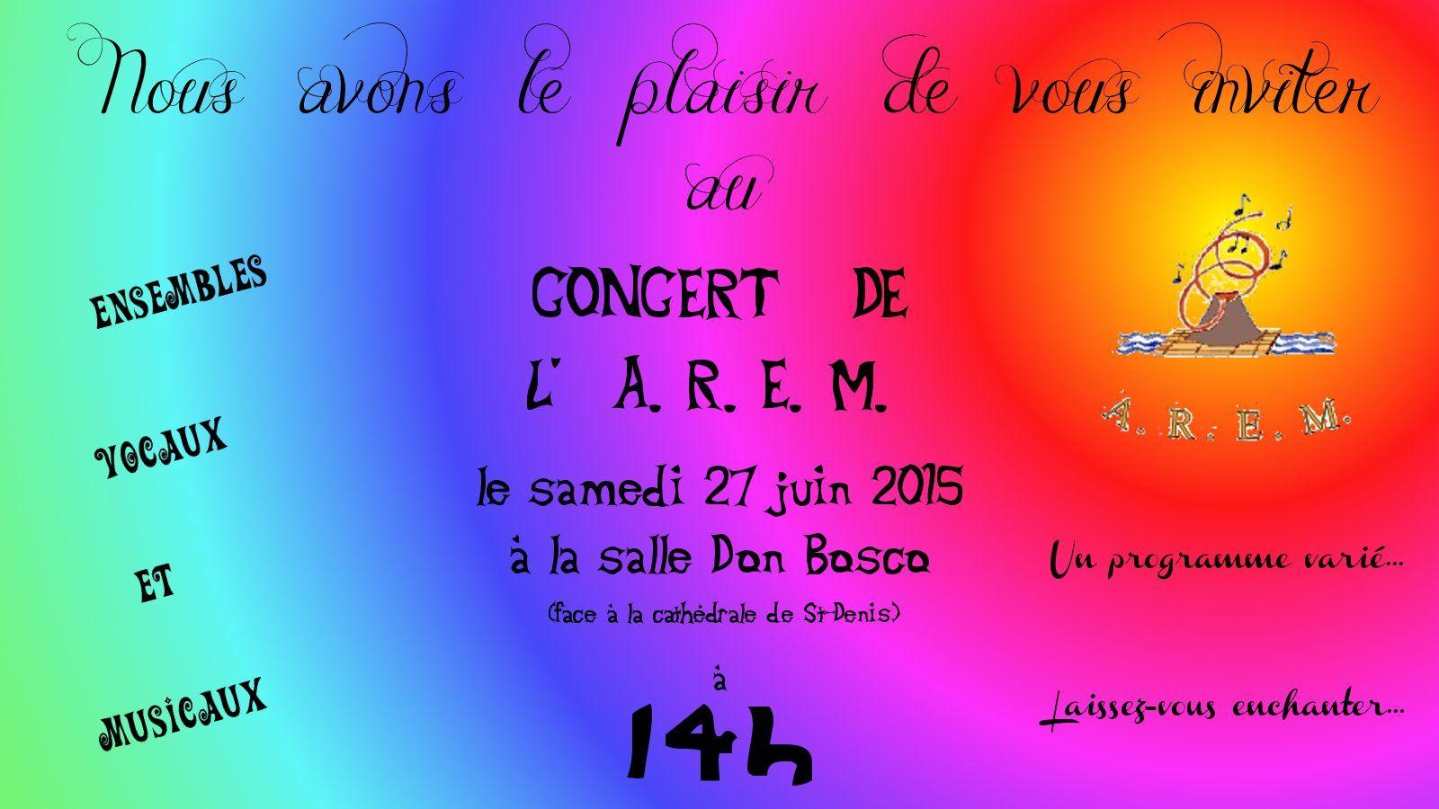 Concert de fin d'année le samedi 27 juin