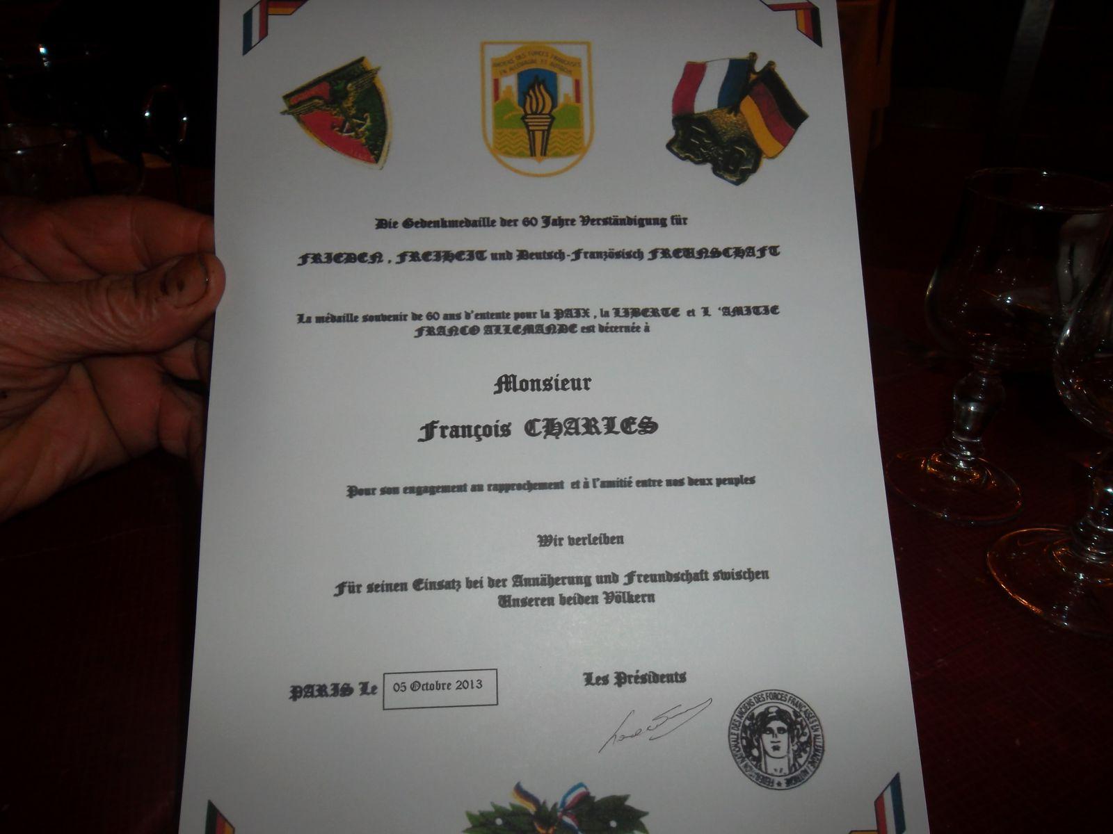le président de l'IRCE décoré de la médaille de l'amitié franco-allemande de la Fédération Nationale des Anciens des Forces Françaises en Allemagne