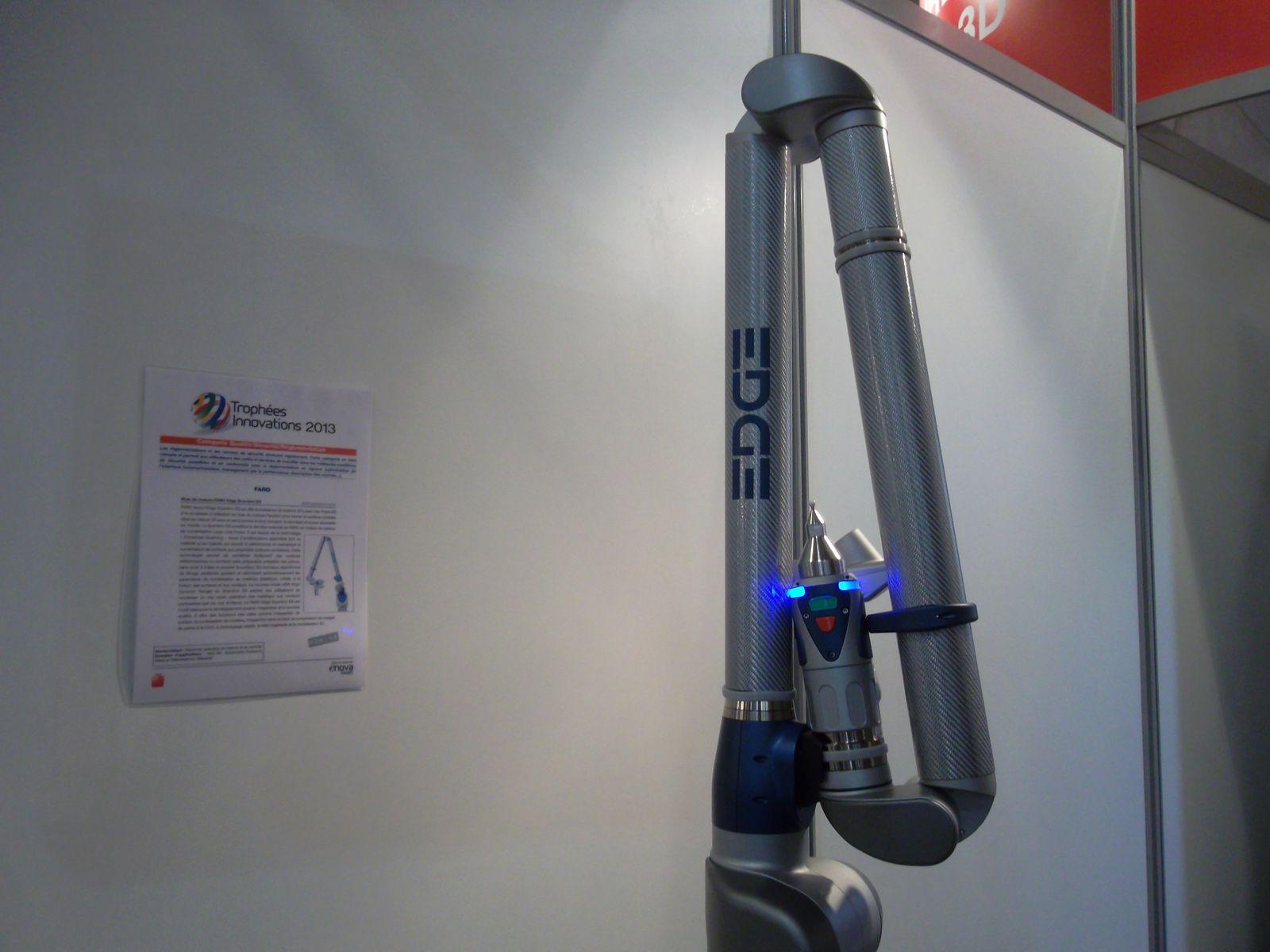quelques instruments dont quelques prix : détecteur de fuites par caméra Leakshooter LKS 1000 de Dimelco et le br&as de mesure Edge ScanArm ES de FARO