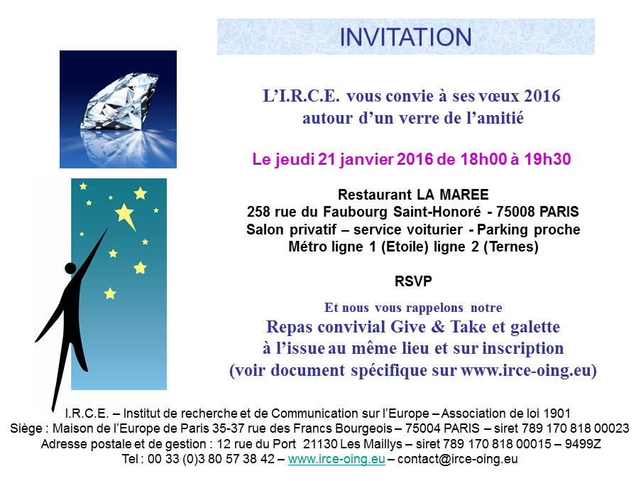 21 JANVIER 2016 : DINER CONVIVIAL GIVE and TAKE et Galette