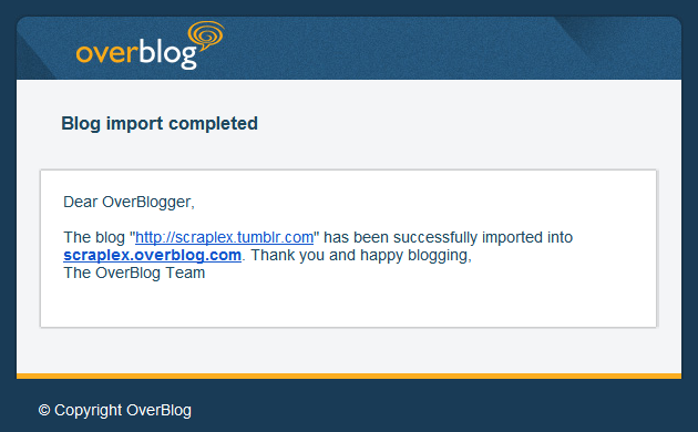 OverBlog import successfully completed