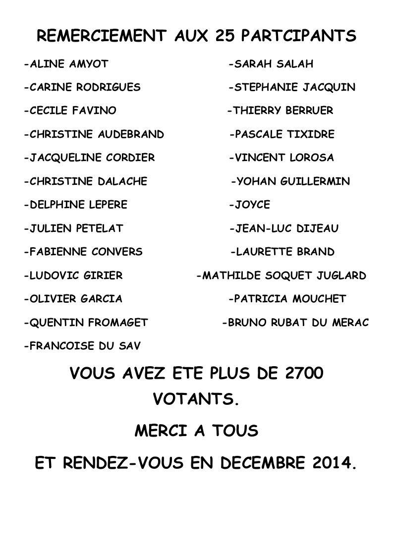 GAGNANTS DU COUCOURS DES PLUS BEAUX SAPINS 2013