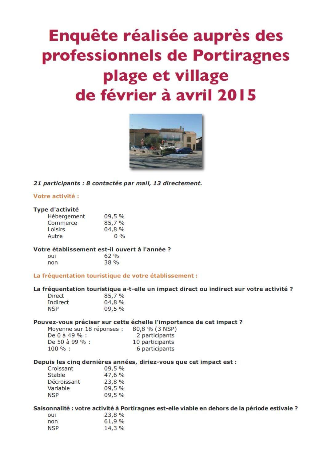 Tourisme à Portiragnes, enquête auprès des professionnels