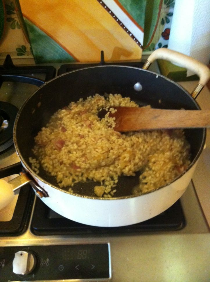 ...making a basic risotto, if on a low fibre diet then only use a small amount of onions and mushrooms and chop finely.