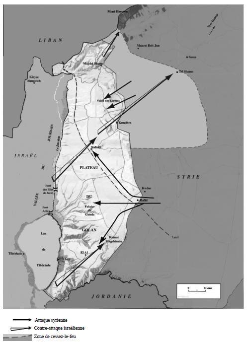 Carte de la guerre du Kippour, le front syrien