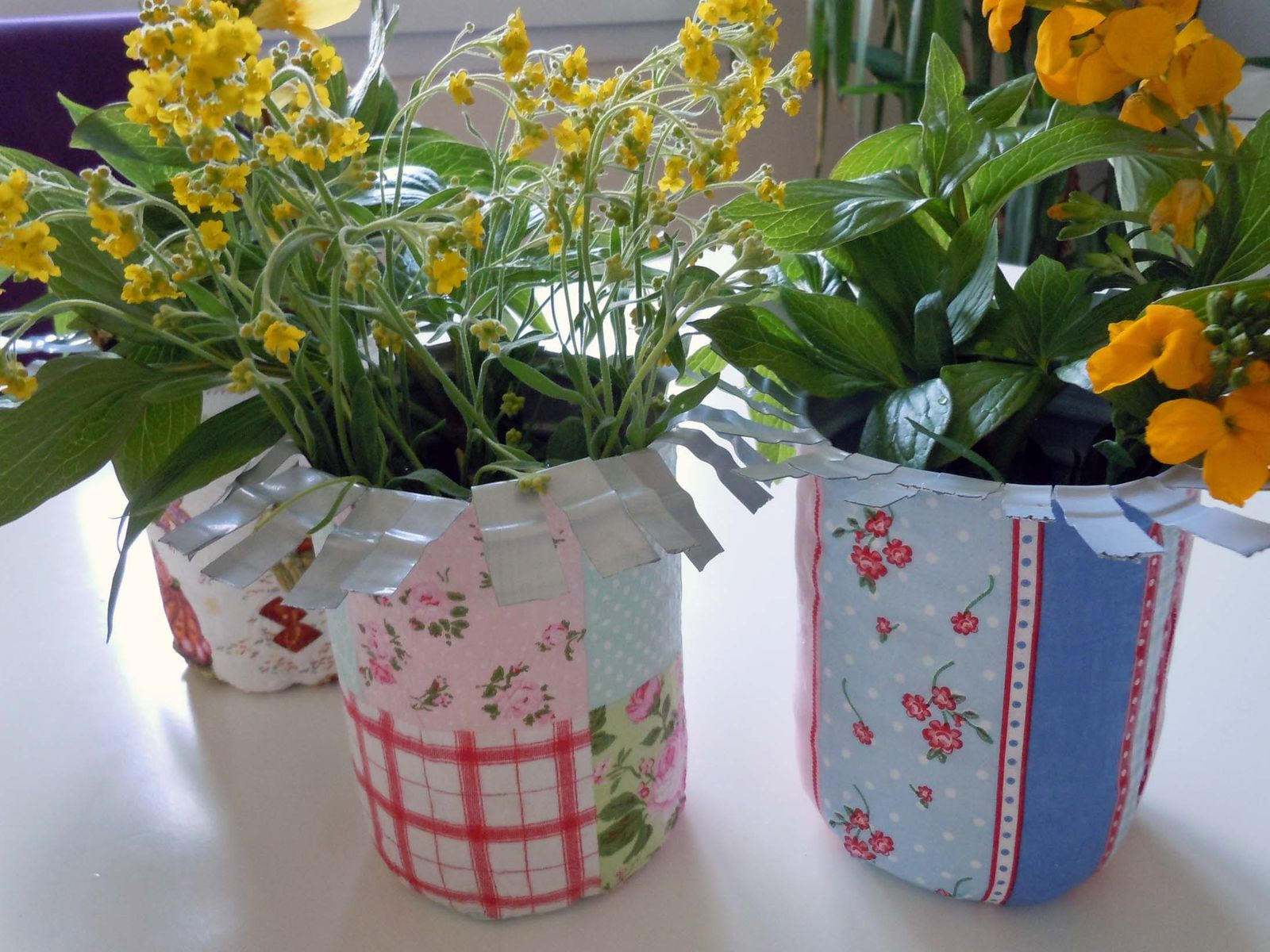 Après le séchage ,on écarte bien la corolle ,on rempli les vases improvisés avec les fleurs du jardin et voilà !!!