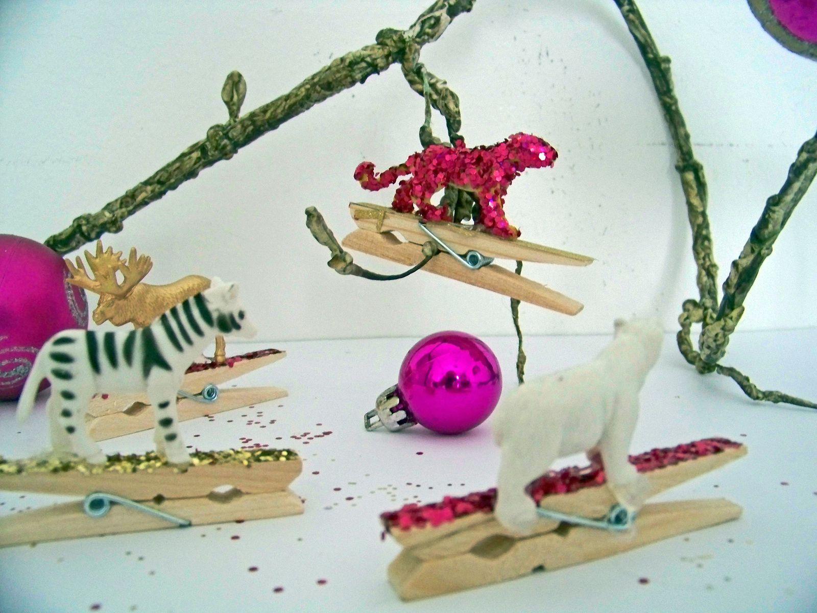 DIY animaux et  pinces à paillettes
