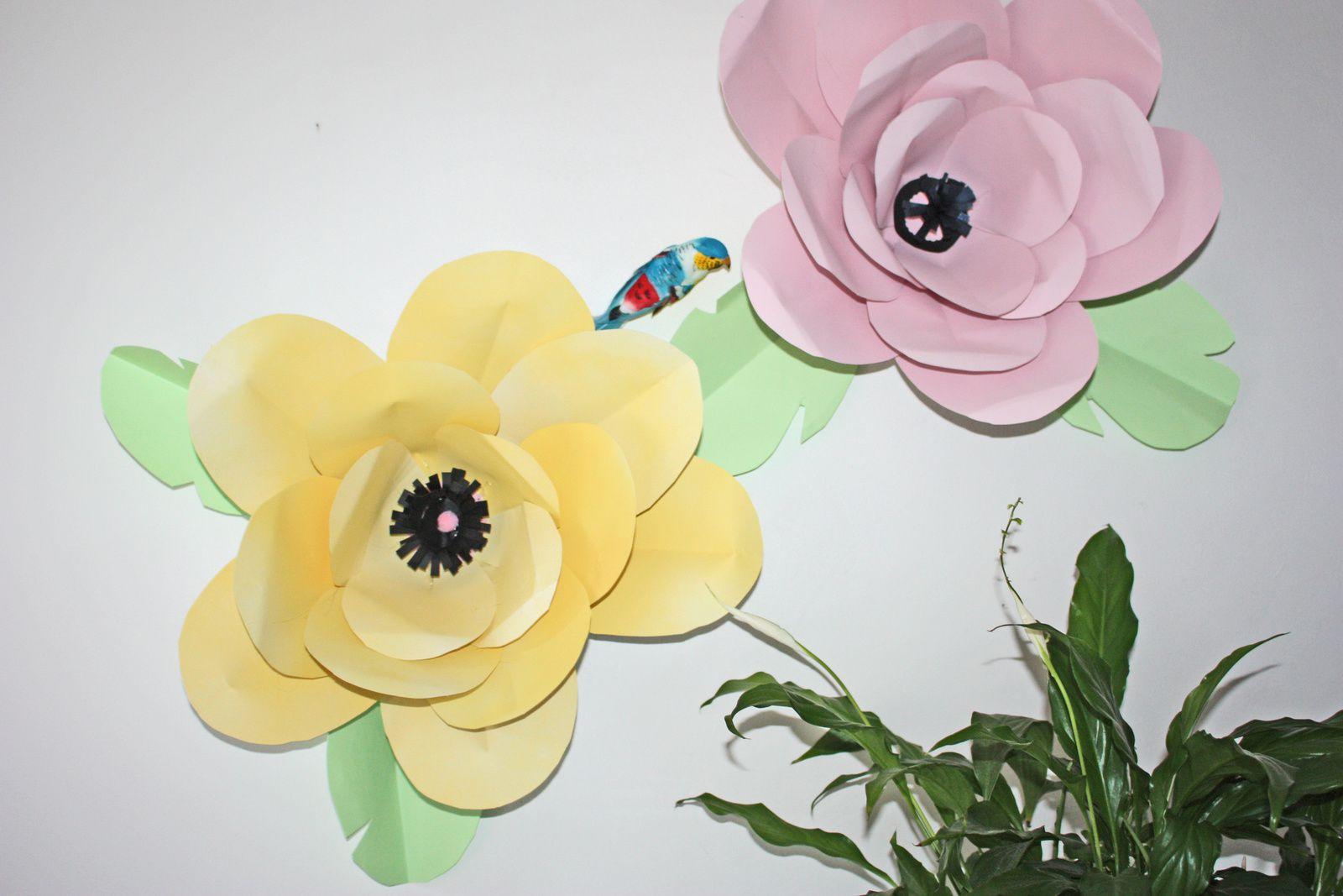 DIY: Les fleurs en papier géantes en déco murale   !!
