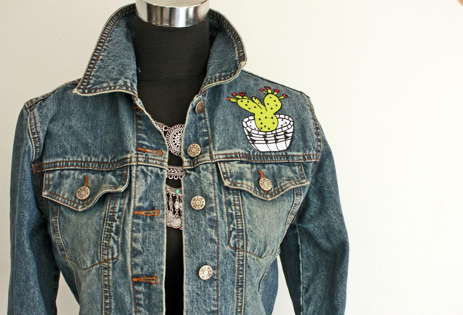 Des broderies esprit folk sur ma veste en jeans !!
