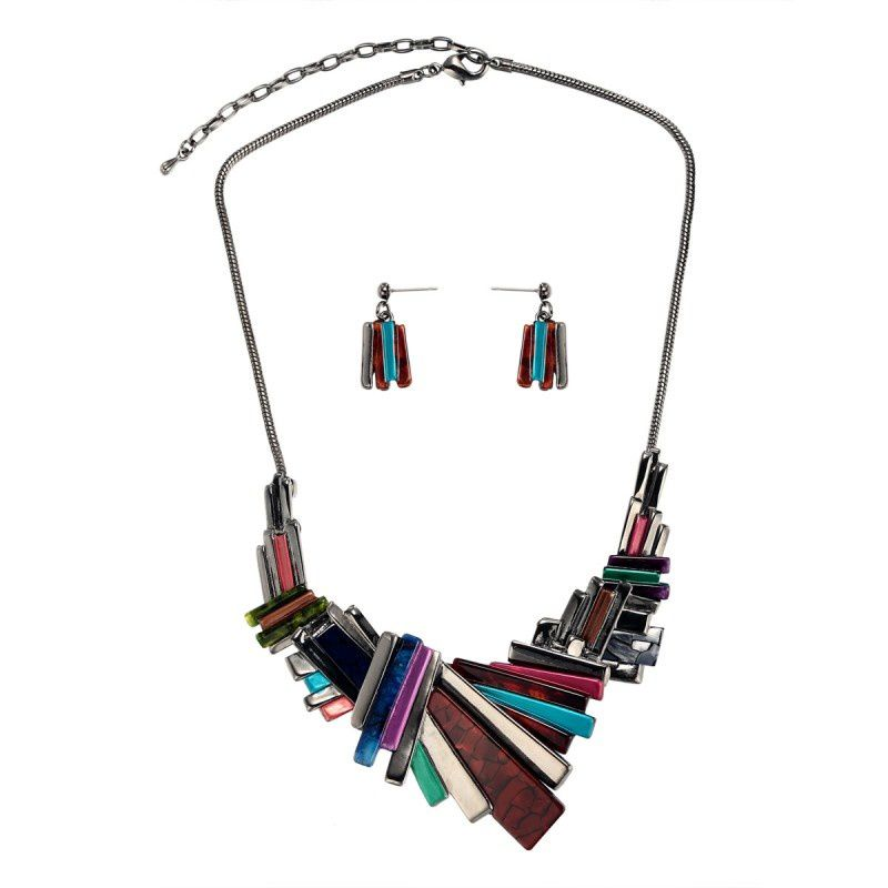 Multicolor Geometric Bib Necklace :  bib necklace earrings set