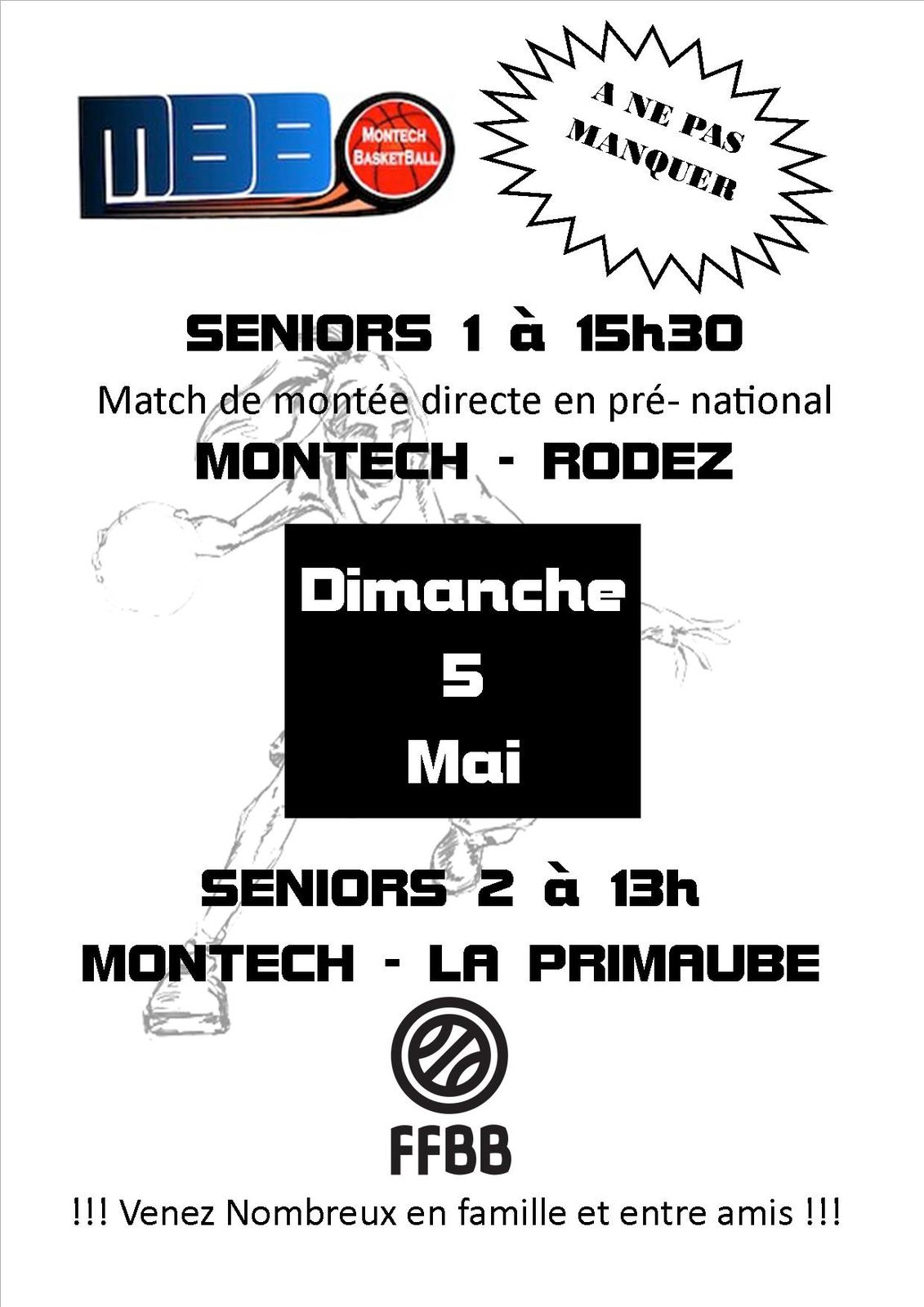 Attention dimanche 5 Mai match des Seniors 1 en montée Pré-national