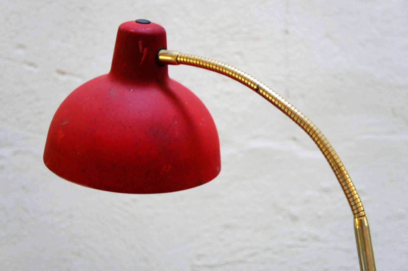 Vendu lampe d 39 atelier rouge vintage m tal industriel for Lampe de bureau annee 50