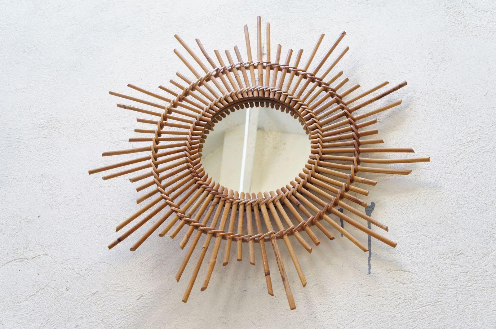 Vendu miroir soleil vintage bambou rotin il de sorci re for Miroir bambou
