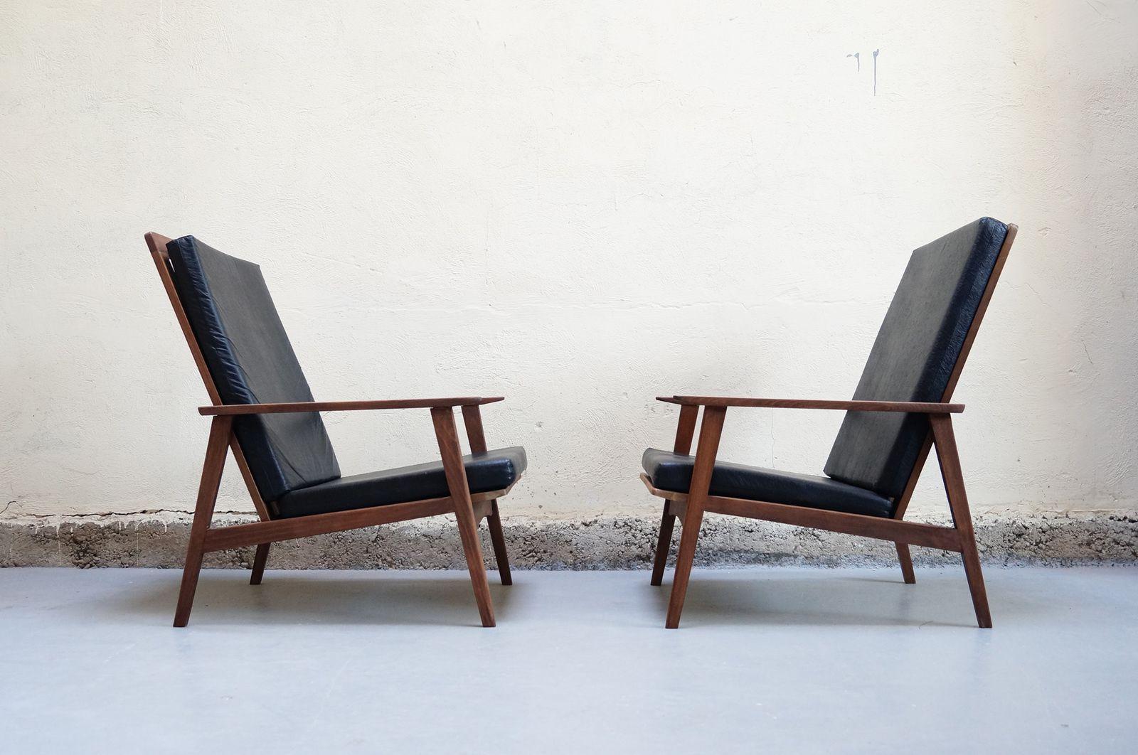 paire de fauteuil vintage style scandinave hetre chauffeuse années 60 70 décoration d'intérieur