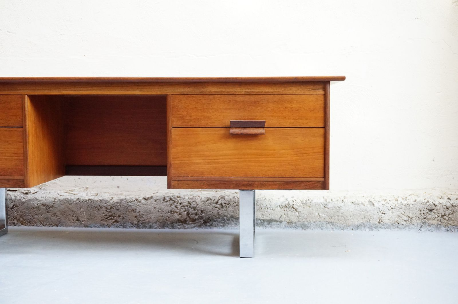 Meuble bas scandinave bureau tele teck annees 50 60 70 vintage design danois mad men bureau - Meuble tele scandinave ...