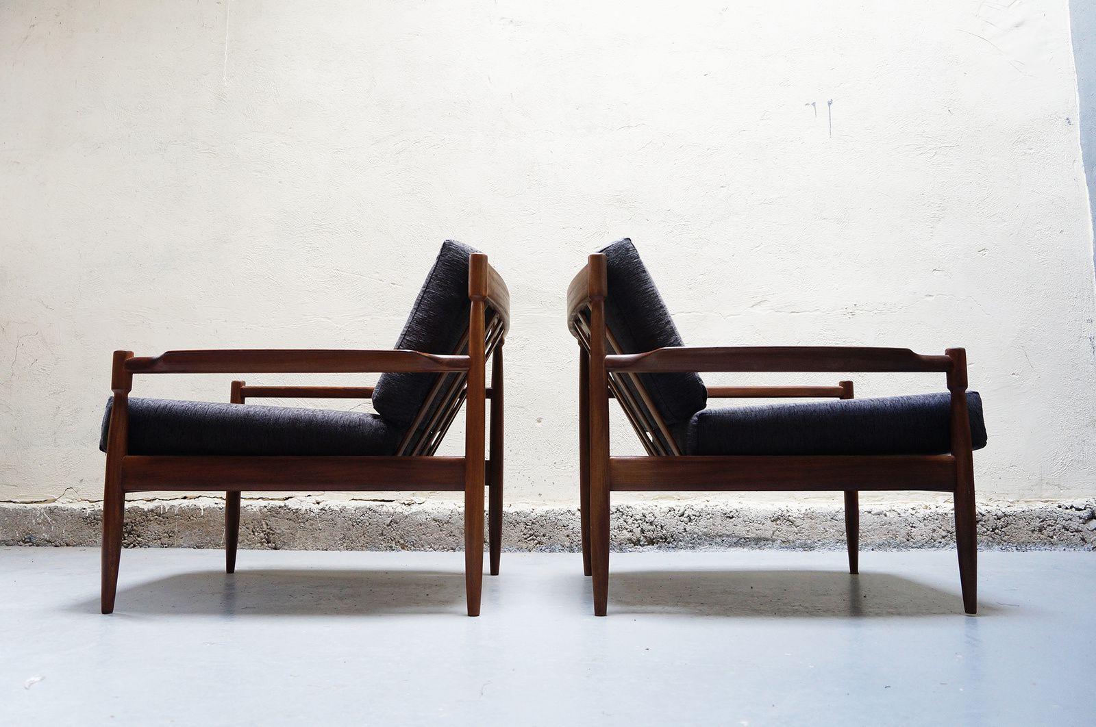 Paire de fauteuil gris scandinave teck vintage design annees 50 60 70 danois - Mobilier scandinave design ...