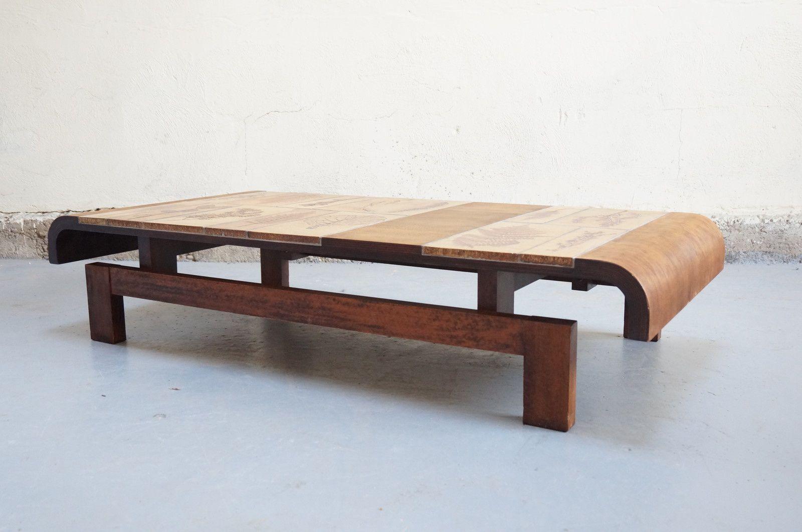 table basse capron roger design vintage ceramique ann es 50 60 70 contre plaqu emiellabroc. Black Bedroom Furniture Sets. Home Design Ideas