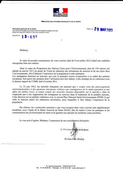 REPONSE DU MINISTERE DES AFFAIRES SOCIALES ET DE LA SANTE