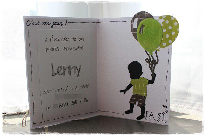 faire part de baptême  de Lenny