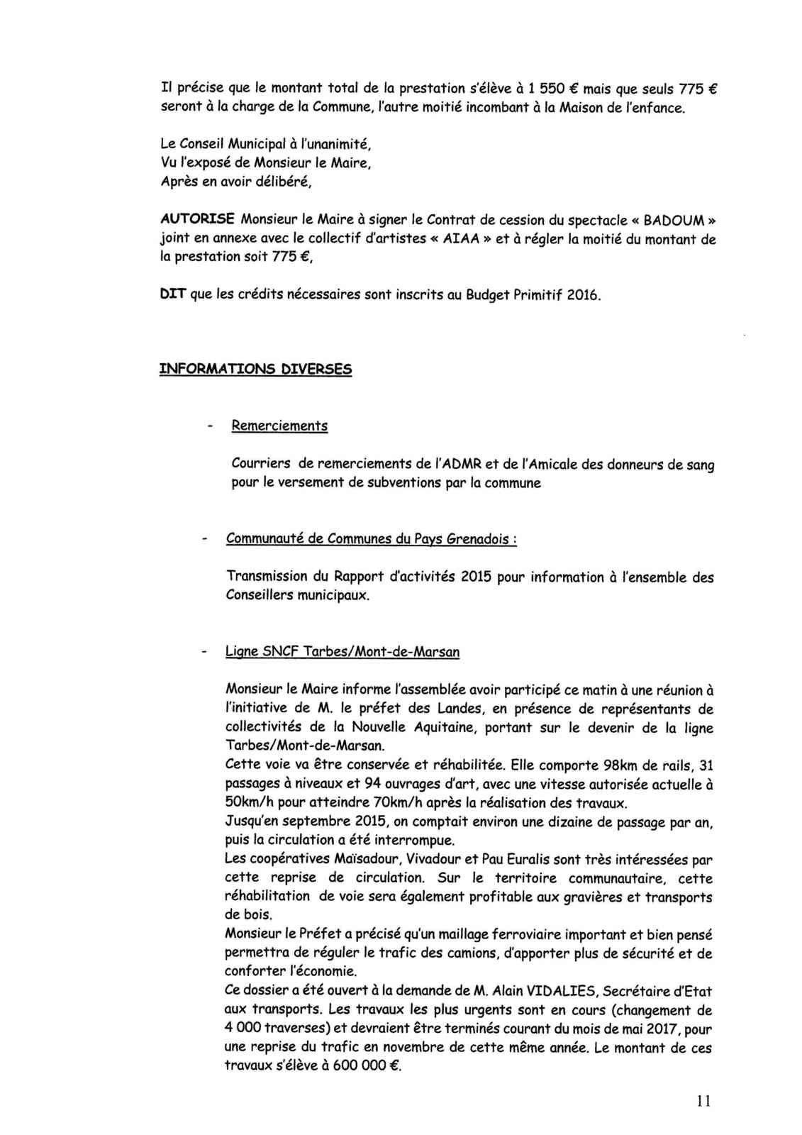 Conseil Municipal : Procès Verbal de la séance du 12 octobre 2016