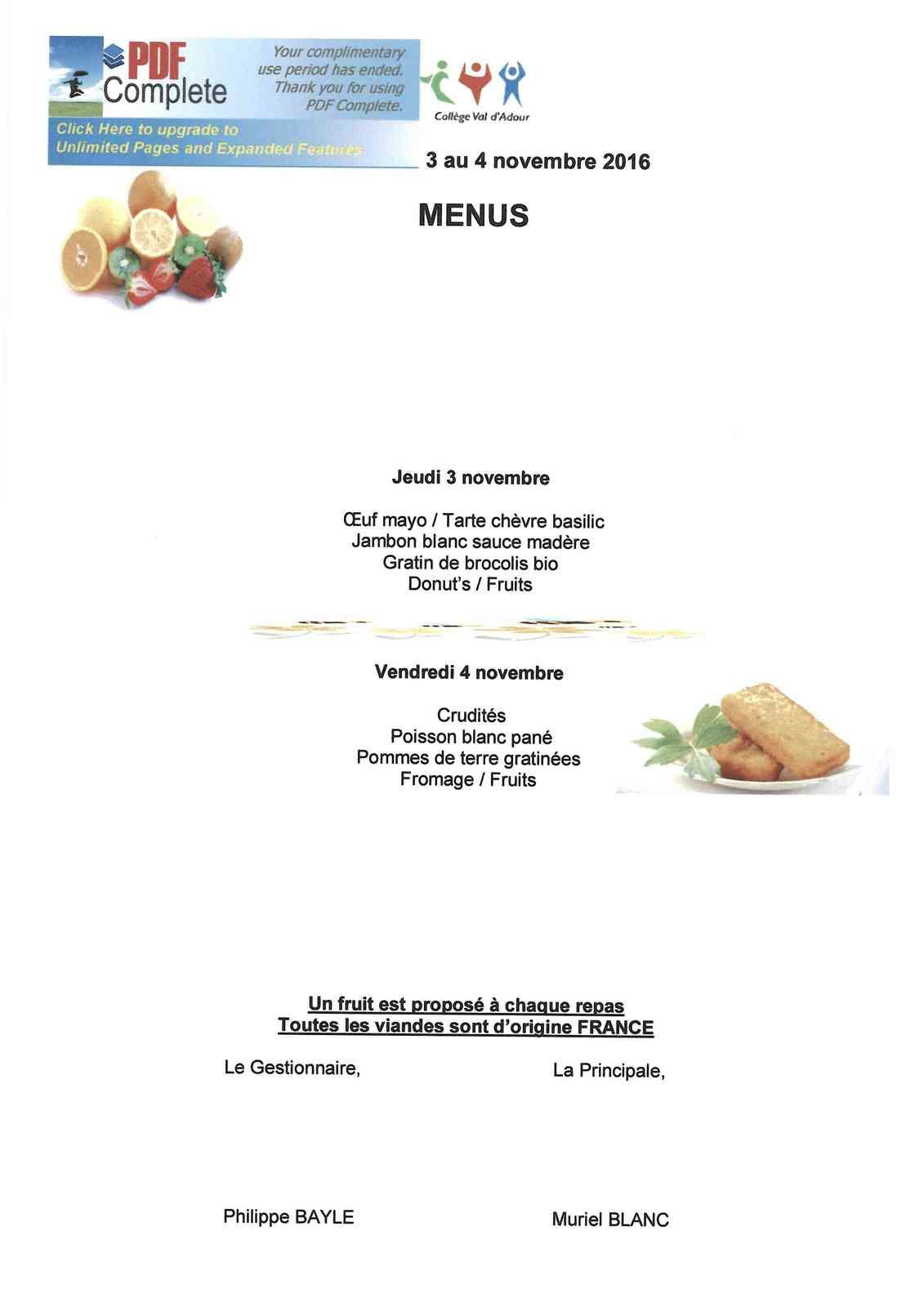 Menu restauration scolaire du 03.11.16 au 04.11.16
