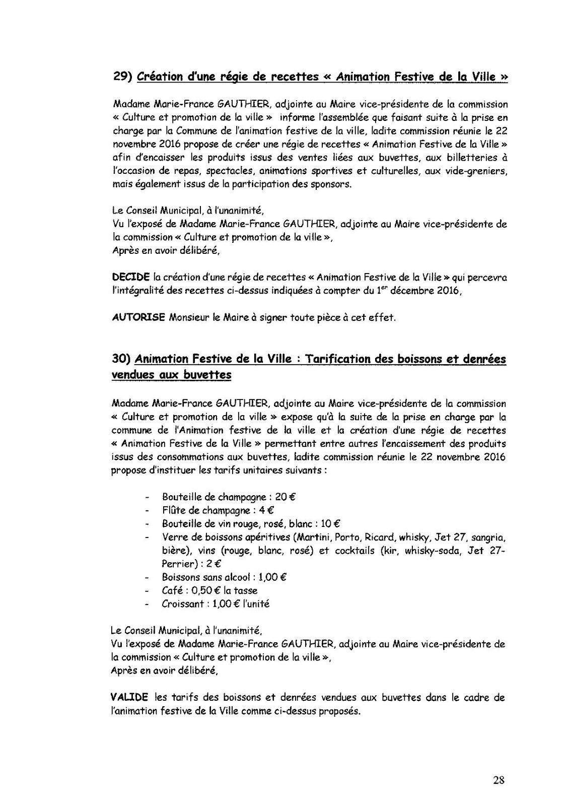 Conseil Municipal : Procès Verbal de la séance du 23 novembre 2016