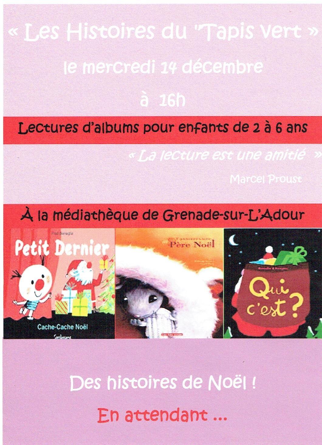 Tapis Vert à la Médiathèque - Mercredi 14 décembre à 16h