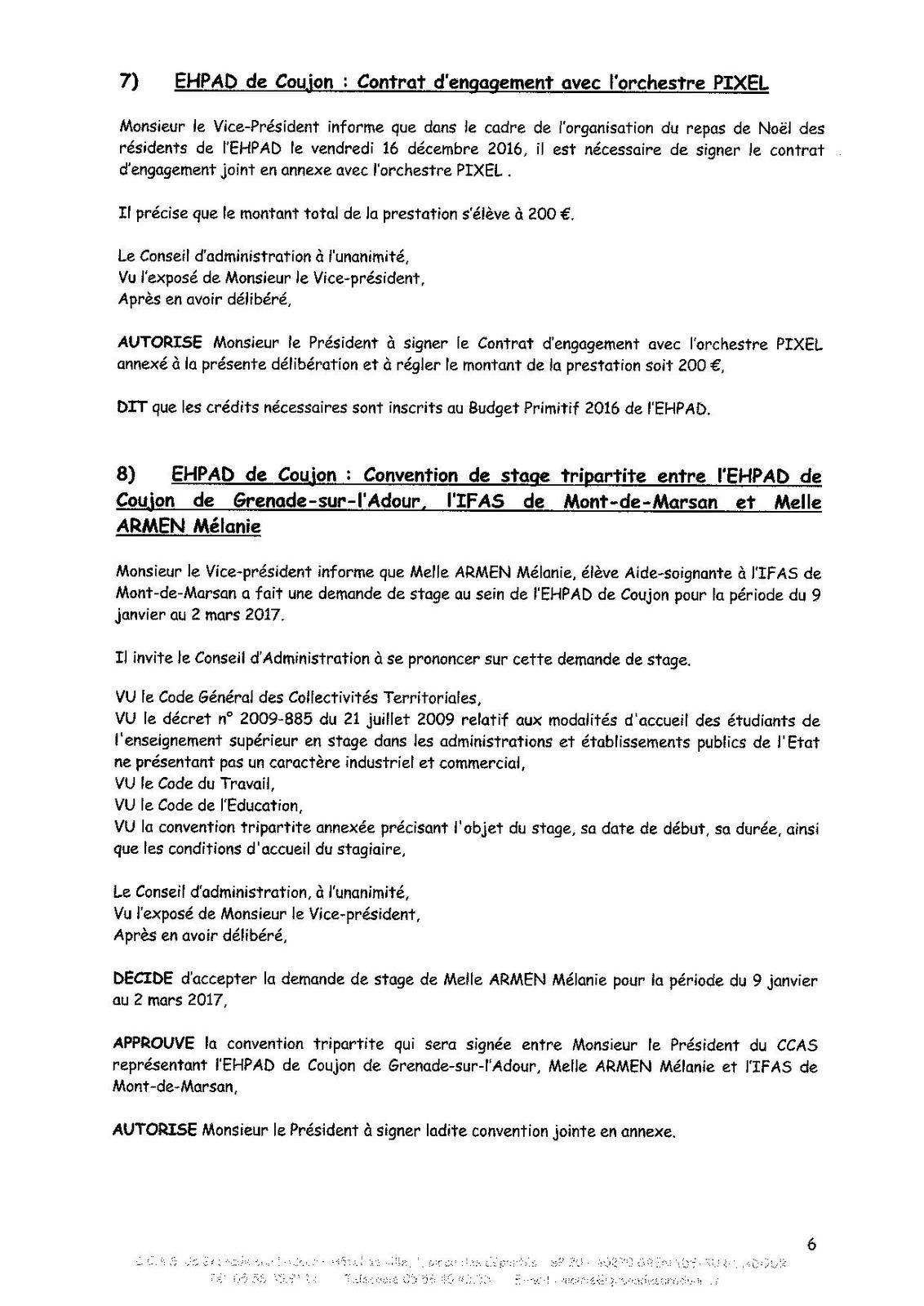PV de la Réunion du Conseil d'Administration du CCAS du 12 décembre 2016